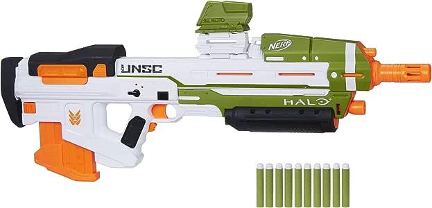 NERF Halo MA40 电动飞镖玩具枪 -- 包括可拆卸的 10 飞镖夹、10 个官方 Elite 飞镖和可连接的导轨升降器