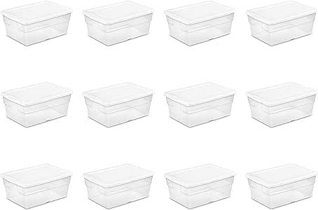 sterilite 164280126夸脱盒12只装白色盖子与透视花边打底