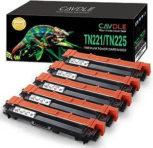 CAVDLE 兼容兄弟 TN221 TN-221 TN-225 High Yield Toner Cartridge 替换件适用于 HL-3170CDW HL-3290CDW MFC-9130CW MFC-9330CDW MFC-9340CDW 打印机 5 包(2 黑色、青色、黄色、洋红色)