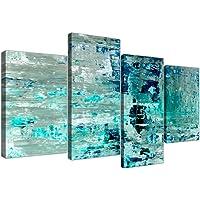 Wallfillers 大号绿松石青色抽象画墙艺术印花帆布 - 分割 4 件套 - 4333