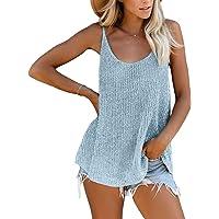 Yidarton 女式针织背心夏季背心宽松无袖上衣吊带休闲无袖衬衫衬衫