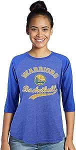 Majestic 运动 NBA 金州勇士队女式高级三合一混纺 3/4 插肩款,宝蓝色,S 码