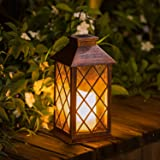 TAKE ME 太阳能灯,户外花园悬挂灯笼 - 防水 LED 闪烁无焰蜡烛 适用于桌面、户外、派对 青铜色 Lancese201203