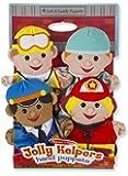 Melissa & Doug 美丽莎和豆豆 Jolly Helpers 手偶(4 件套)- 建筑工人、*、警察和消防员 Jolly Helpers 1份 多种颜色