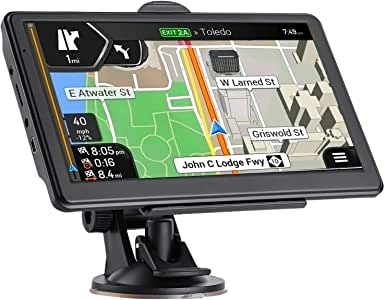 GPS 汽车导航,*新 2020 年地图 7 英寸触摸屏汽车 GPS 256-8GB,语音转向指南,支持速度和红灯警告,预安装北美终身地图