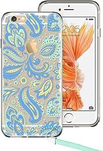 iPhone 6Plus 手机壳, iPhone 6S PLUS 手机壳, ESR 图腾 henna 曼陀罗花卉图案设计与软 TPU 缓冲 + 硬质 PC 后盖适用于13英寸 iphone 6plus/iphone 6S PLUS Cyan Paisley