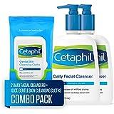 Cetaphil 丝塔芙 日常洁面乳,适合中性至油性皮肤,2瓶装*16盎司/473毫升+10张温和皮肤清洁布,适合干燥…