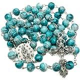 Nazareth Store 天主教绿松石大理石玻璃珠念珠项链奇迹*牌和十字架 - 天鹅绒袋