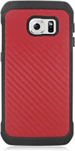 Z-GEN - 兼容三星 Galaxy S6 Edge G925 - 混合 TPU 保护壳 + PET 膜屏幕保护膜 EC4 Red Carbon
