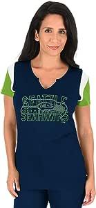 NFL 西雅图海鹰队成人女式 NFL 加大码/凹口 V 领、2X、NVY/Brite Grn