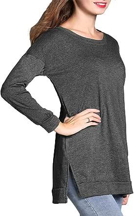 RJXDLT 女式休闲长袖圆领衬衫宽松软口袋套头女衬衫上衣
