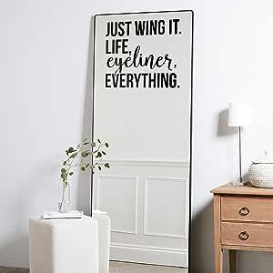 """乙烯基墙艺术贴花 - Just Wing It Life Eyaro Everything - 43.18 厘米 x 50.80 厘米 - 积极励志引言家庭卧室客厅课堂学校办公室装饰贴纸 黑色 17"""" x 20"""" JUSTWING"""