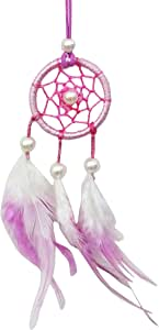 SuSvapnaah Mini Dream Catcher For Car Small Dreamcatcher 粉色白色悬挂装饰品圆形 5.08 cm 粉色和白色 2 x 7 Inches MSUS121A
