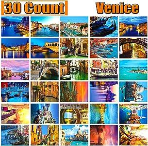 明信片 30 张 维也纳威尼斯自信邮寄侧旅行贺卡感恩旅行卡怀恩旅行卡古典目的地在奥地利和水城收藏明信片 Venice