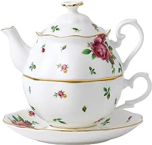 "Royal Doulton 新乡玫瑰系列 花茶派对茶杯壶,1人容量,约6"" x 7"" x 10""(约20*23.34*33.34cm),白体印花"