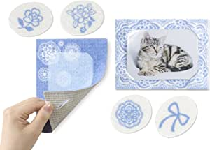 Sanko * 贴在墙壁上 撕开照片框架 装饰照片 只需吸附 2种图案 BL(蓝色) L判サイズ -