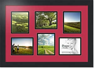 ArtToFrames 拼贴照片框双垫,带 6 个开口和黑色缎框。 红色(Rouge) 4x5 Double-Multimat-353-762/89-FRBW26079