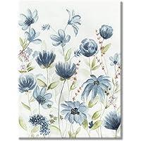 水彩花卉帆布墙壁艺术:现代艺术品蓝色野花图片手绘帆布艺术卧室(45.72 厘米 x 60.96 厘米 x 1 幅)