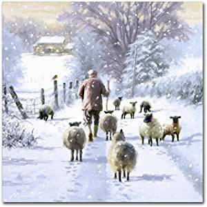 Trademark Fine Art 冬季牧羊犬 The Macneil Studio 出品 14x14 ALI09725-C1414GG