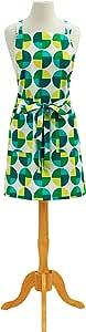 ASD 生活绿圆圈复古印花棉质钮扣围裙 绿色 成人 01-468