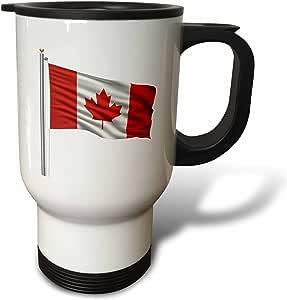 3drose carsten reisinger illustrations 插图–加拿大国旗 ON A 国旗 POLE OVER 白色加拿大–旅行杯 白色 14 oz