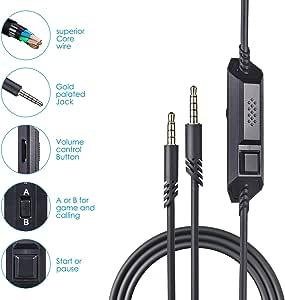 Astro 2.0M A10 电缆线带静音功能,也适用于 A40 和 A40TR 游戏耳机 Xbox one ps4 控制器 2 Meter