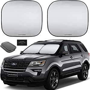 Autoamerics 挡风玻璃遮阳罩 - 2 件可折叠汽车前窗遮阳罩 Standard (Medium) AMRC-Shades