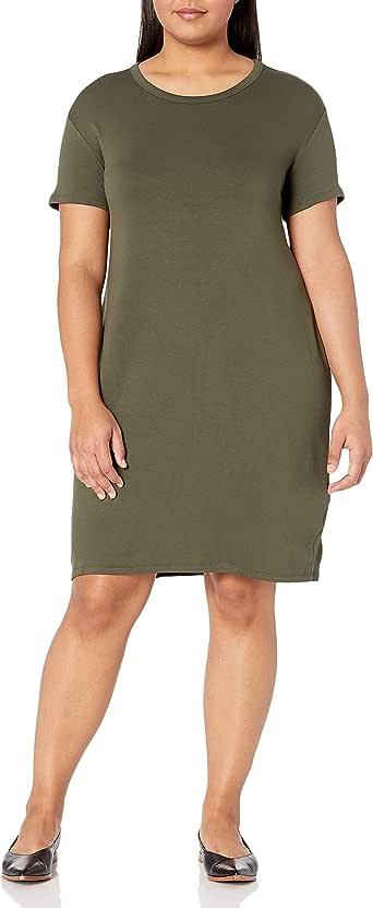 亚马逊品牌 - Daily Ritual 女式加大码超柔软毛圈短袖开领连衣裙