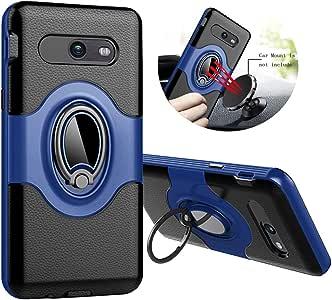plonglora SAMSUNG GALAXY J72017保护套 J7V 手机壳 J7PRIME 手机壳 J7perx 保护套 J7SKY PRO 保护套光环保护套360度旋转环 kickstand 防护手机保护套 Black&Blue