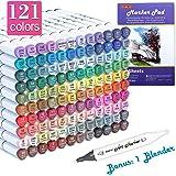 121 色双头酒精艺术记号笔,120 种颜色以及 1 个搅拌机永久记号笔 1 个记号笔垫带盒非常适合儿童成人涂色书素描卡片制作