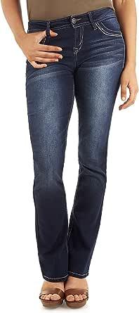 WALLFLOWER 女式 junuiors 加大码经典传奇靴型牛仔裤 Amy 24 Plus Long