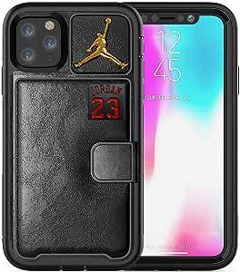 新款高级 3D Jordan PU 皮革混合钱包手机壳(双层防震防摔)适用于 iPhone 11 Pro Max(2019/6.5 英寸) 黑金