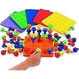 使用 Fun Express 进行堆叠游戏 职业*自闭*精细运动技巧 - 单泡沫板和 30 个钉子