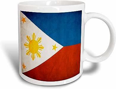 3dRose 28282_6 菲律宾国旗双色马克杯,311.84 g,蓝色