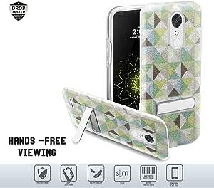 LG Harmony、K20 Plus、K20V、K20 V、Grace 手机壳女士设计闪闪发光的纤薄双层防震混合硬壳带磁性【支架】 Neon Green Checkered/Clear