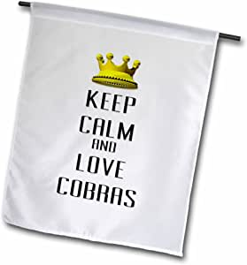 3dRose fl_120997_1 金色皇冠 Keep Calm and Love Cobras 花园旗,30.48 x 45.72 cm