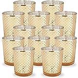 Just Artifacts 玻璃烛台 6.99 厘米高(件、格子金色) - 适用于婚礼、派对和家居装饰的水星玻璃烛台-VARY 金色 4335410154