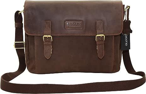 Picchio 复古真皮男式邮差包 - 14 英寸笔记本电脑单肩包 - 斜挎办公室公文包 适用于 Macbook - 挎包适用于办公室,大学 ,棕色 ,均码