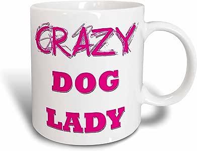 3dRose mug_175017_2 Crazy Dog Lady Ceramic Mug, 15 oz, White