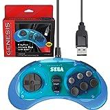 Retro-Bit 官方 Sega Genesis USB 控制器 8 键摇滚板,适用于 Sega Genesis Mini、任天堂开关、PC、Mac、蒸汽、复古派对 Raspberry Pi - USB 端口 - 透明蓝色