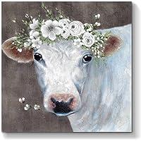 白色奶牛绘画墙壁艺术:动物帆布艺术品手绘客厅图片(91.44 厘米 x 91.44 厘米 x 1 幅)