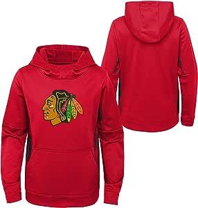 OuterStuff 青年 NHL 芝加哥黑鹰队高性能连帽衫 青少年尺码 红色 Youth XXS (4)