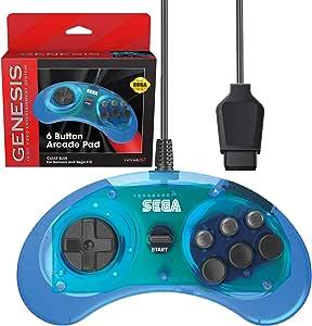 Retro-Bit 官方 Sega Genesis 控制器 6 颗纽扣拱门垫 适用于 Sega Genesis - 原装端口 透明蓝色