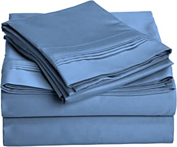 Impressions 1000 Thread Count Premium Egyptian Cotton, Olympic Queen Bed Sheet Set, Single Ply, Solid, Medium Blue