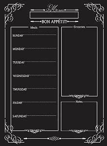 Weekly Menu — 磁性黑板风格冰箱餐具规划器 — 杂货购物列表 — 白擦板 — 大日历 — 厨房收纳器 — 光滑黑色表面,防水 — 27.94 x 38.10 cm