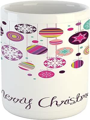 """Ambesonne 圣诞节马克杯,复古花环灵感圆形带手工绘制风格可爱季节性人物印花,印花陶瓷咖啡杯水茶杯,多色 Multi 6 3.6"""" H By 3.2"""" W mug_39773"""