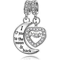 NINAQUEEN 925 纯银魅力,刻有 Mom I Love You to The Moon and Back 双吊坠串珠心形吊坠串珠非常适合项链和手镯