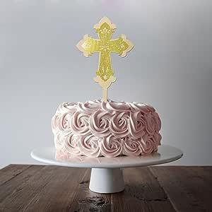 蛋糕装饰十字架洗礼,圣餐 133.24 x 30.48 厘米激光切割 MDF 和闪光泡沫金