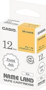 卡西欧 标签打火机 姓名乐园 粉彩胶带 12mm ソフトオレンジにグレー文字