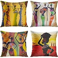 Britimes 抱枕套家居装饰 4 件枕套装饰 1818 英寸沙发垫沙发枕套 African Black Girl 1…